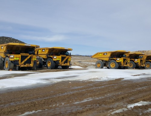 Caterpillar 793F Haul Trucks Parked At The Mine